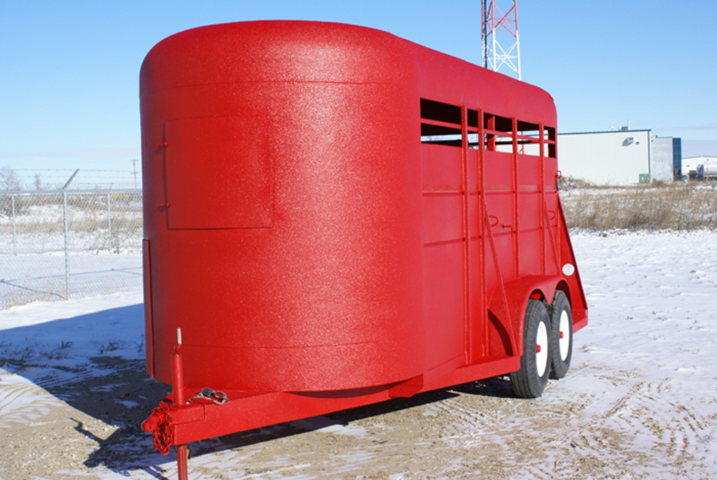 Red Stock Trailer Frontal View